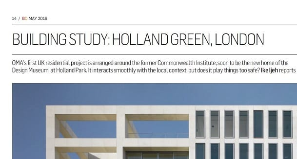 Image of Holland Green featured in Building Design magazine